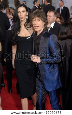 Jan 16, 2005; Beverly Hills, CA: MICK JAGGER & wife at the 62nd Annual Golden Globe Awards at the Beverly Hilton Hotel.