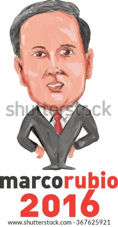 Jan. 26, 2016: Caricature illustration showing Marco Rubio, an American senator, politician and Republican 2016 presidential candidate standing with words MarcoRubio 2016 done in cartoon style. - stock photo