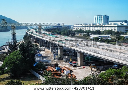 JAN 13 2016 : Construction site of Hong Kong Airport Building Road in 13 January 2016