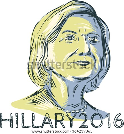 Jan. 19, 2016: Drawing sketch style illustration showing Democrat presidential candidate Hillary Clinton with words Hillary 2016 on isolated background. - stock photo