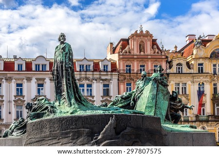 Jan Hus Memorial (designed by Ladislav Saloun) in Old town square in Prague, Czech Republic. It was unveiled in 1915 to commemorate the 500th anniversary of Jan Hus martyrdom. - stock photo