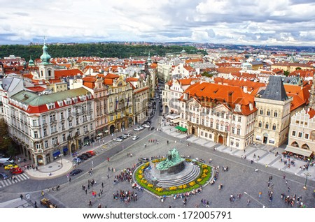 Jan Hus monument in Old Town Square (Staromestske namest���­),  Prague, Czech Republic - stock photo