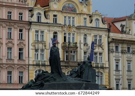 Jan Hus Monument in the middle of the Old Town Square, Prague, Czech Republic