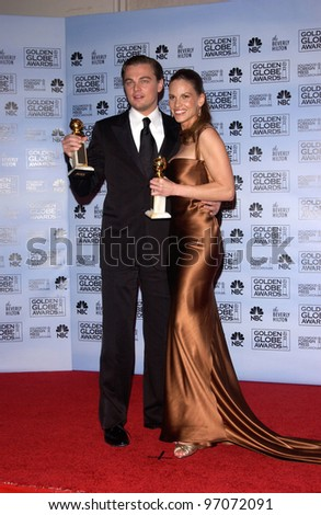 Jan 16, 2005; Los Angeles, CA: LEONARDO DiCAPRIO & HILARY SWANK at the 62nd Annual Golden Globe Awards at the beverly Hilton Hotel. - stock photo