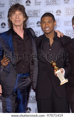 Jan 16, 2005; Los Angeles, CA: MICK JAGGER (left) & USHER at the 62nd Annual Golden Globe Awards at the beverly Hilton Hotel. - stock photo