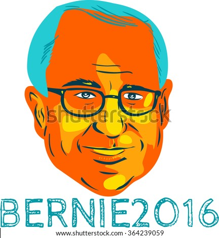 "Jan. 19, 2016: WPA style illustration showing Bernard ""Bernie"" Sanders, American Senator, elected politician and Democrat presidential candidate with words Bernie 2016. - stock photo"