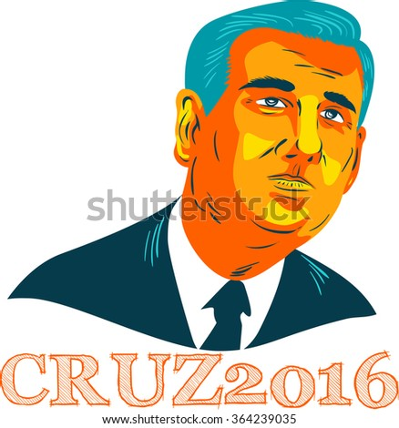 Jan. 19, 2016: WPA style illustration showing Rafael Edward Ted Cruz, an American senator, politician and Republican 2016 presidential candidate with words Cruz 2016. - stock photo