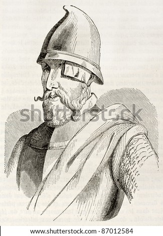Jan Zizka old engraved portrait, famous Hussite commander. After old print by unknown author, published on Magasin Pittoresque, Paris, 1843 - stock photo