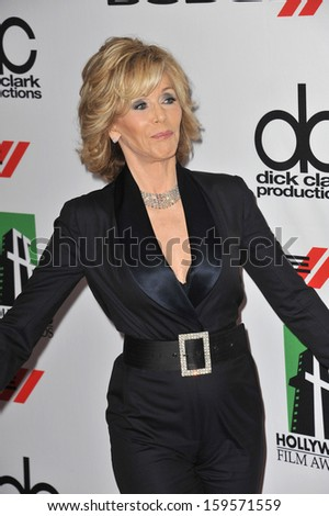 Jane Fonda at the 17th Annual Hollywood Film Awards at the Beverly Hilton Hotel. October 21, 2013  Beverly Hills, CA - stock photo