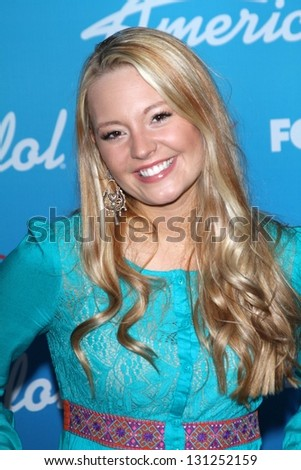 "Janelle Arthur at the ""American Idol"" Finalists Party, The Grove, Los Angeles, CA  03-07-13 - stock photo"