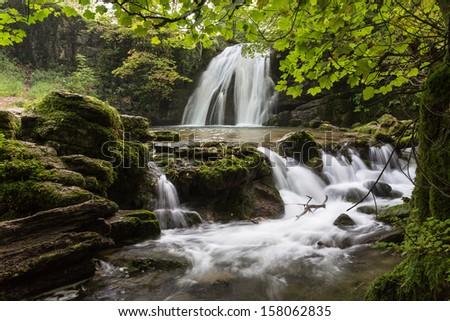 Janet's Foss, Yorkshire Dales National Park, near Goredale Scar (UK) - stock photo