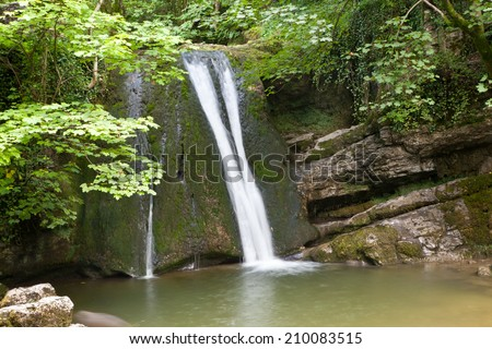 Janets Foss waterfall in Malham, Yorkshire, Dales, England, UK - stock photo