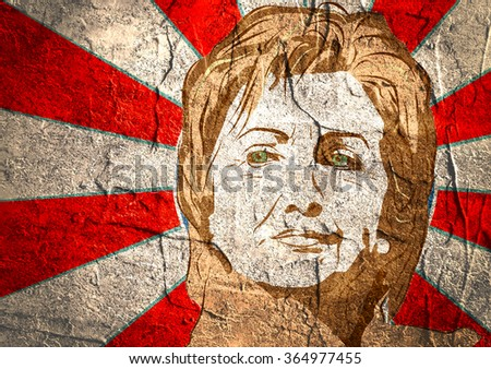 January 15, 2016: A illustration showing Democrat presidential candidate Hillary Clinton on sun rays background done in hand draw style - stock photo