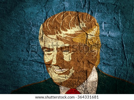 January 18, 2016: An illustration of a portrait of Republican Presidential Candidate Donald Trump on background textured by concrete wall surface - stock photo