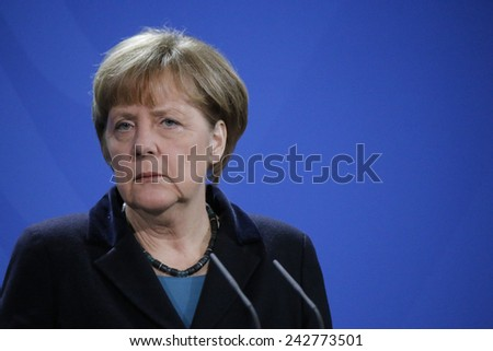 JANUARY 8, 2015 - BERLIN: German Chancellor Angela Merkel at a press conference after a meeting with the Ukrainian Prime Minister in the Chanclery in Berlin. - stock photo