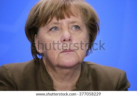 JANUARY 28, 2016 - BERLIN, GERMANY: German Chancelor Angela Merkel at a press conference in the Federal Chanclery. - stock photo
