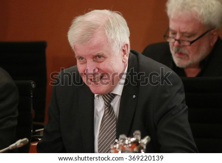 JANUARY28, 2016 - BERLIN: Horst Seehofer at a meeting with the German Chancellor in the Federal Chanclery. - stock photo