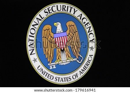 "JANUARY 27, 2014 - BERLIN the logo/ embleme of the US American secret service ""NSA - National Security Administration"". - stock photo"