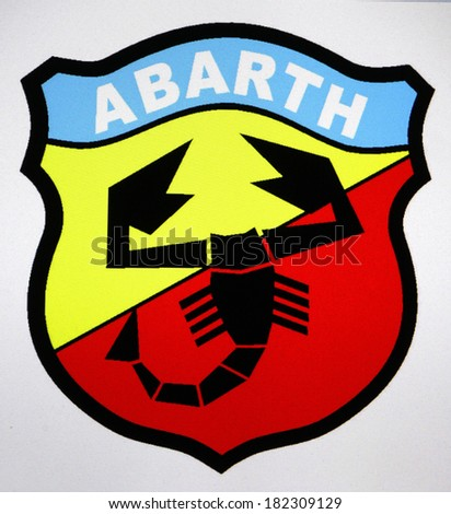 "JANUARY 27, 2014 - BERLIN: the logo of the brand ""Abarth""."