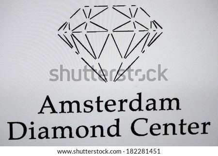 "JANUARY 27, 2014 - BERLIN: the logo of the brand ""Amsterdam Diamond Center"". - stock photo"