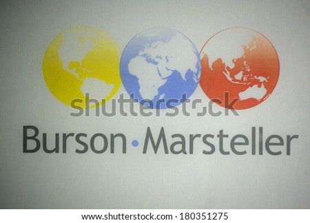 "JANUARY 28, 2014 - BERLIN: the logo of the brand ""Burson Marsteller"", Berlin."