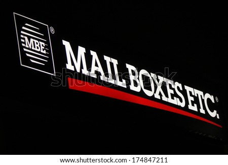 "JANUARY 2014 - BERLIN: the logo of the brand ""MBE Mail Boxes etc."", Berlin."