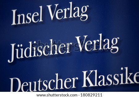 "JANUARY 28, 2014 - BERLIN: the logo of the !""Insel Verlag"" and ""Juedischer Verlag"", Berlin."