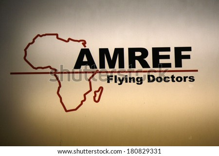 "JANUARY 28, 2014 - BERLIN: the logo of the non governmental organization ""Amref Flying Doctors"", Berlin. - stock photo"