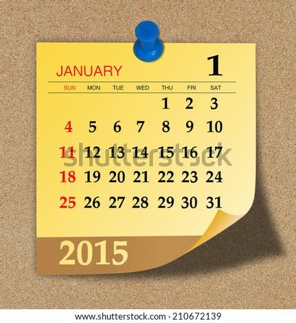 January 2015 - Calendar - stock photo