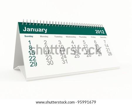 January 2012 calendar - stock photo