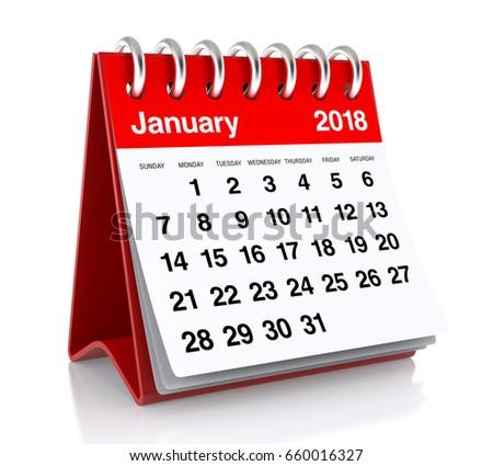 January 2018 Calendar Isolated On White Stock Illustration ...
