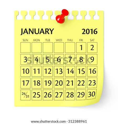 January 2016 - Calendar. Isolated on White, Background. 3D Rendering - stock photo