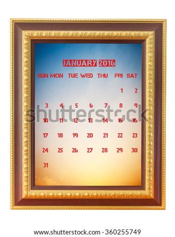 January 2016 calendar on photo frame, weeks start from Sunday - stock photo