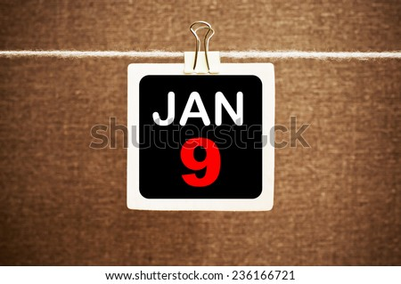 January 9 Calendar. Part of a set - stock photo