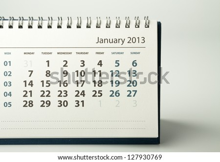 January. Calendar sheet. 2013 year calendar - stock photo
