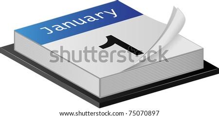 January Calender illustration on white - stock photo