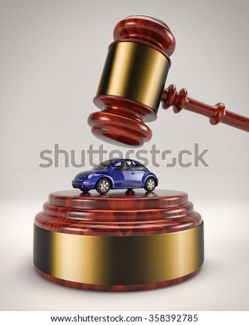 January 5, 2016: 3D illustration of a Volkswagen Beetle about to be crushed by a judge's gavel due to the usage of a defeat device to manipulate pollution emissions. - stock photo