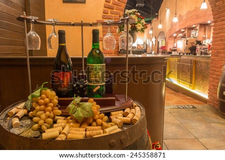 January 18 2015:Different wine on table in Restaurant of Silverlake Grape Farm. It's famous and only vineyard in the East of Thailand and become one of most popular attractions in Pattaya. - stock photo