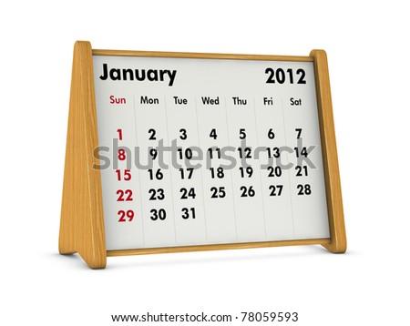 january 2012 elegant wooden calendar on white background (3d render) - stock photo