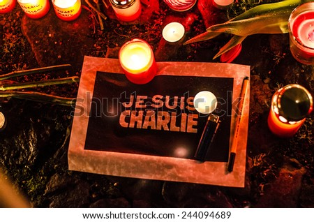 January 08 2015: gathering in front of France Embassy in Prague, Czech Republic, (in solidarity with the attack against Charlie Hebdo in Paris) - stock photo