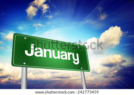 January Green Road Sign, Months of the Year concept - stock photo