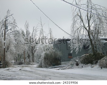 January 2009 Ice Storm damage in Paducah, Kentucky. Most of these people still don't have power. - stock photo