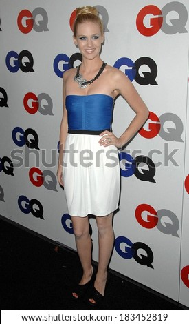 January Jones, wearing a Gucci Resort dress, at Gentleman's Quarterly GQ Men of the Year Event, Chateau Marmont, Los Angeles, CA November 18, 2009  - stock photo