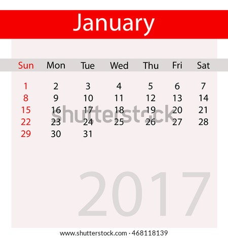 January Month of Business Contemporary Calendar for 2017