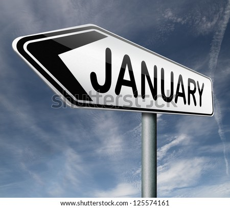 january month road sign
