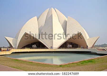 JANUARY 24,2014, NEW DELHI, INDIA - Bahai Lotus temple in India. This temple built in 1986 and isone of a main sights of Delhi.