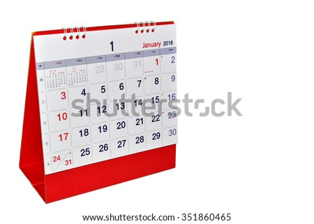January 2016 planning Calendar. Isolated on White Background. This has clipping path. - stock photo