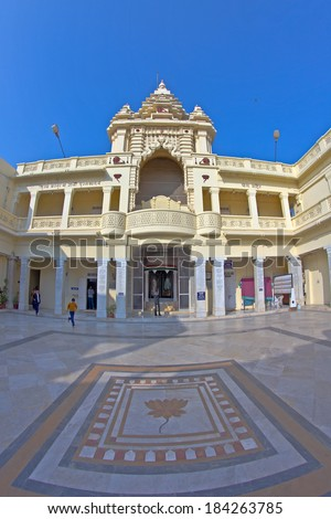 JANUARY 28, 2014, PORBANDAR, GUJARAT, INDIA - Kirti Mandir, memorial complex at Mahatma Gandhis birthplace. Fish-eye lens
