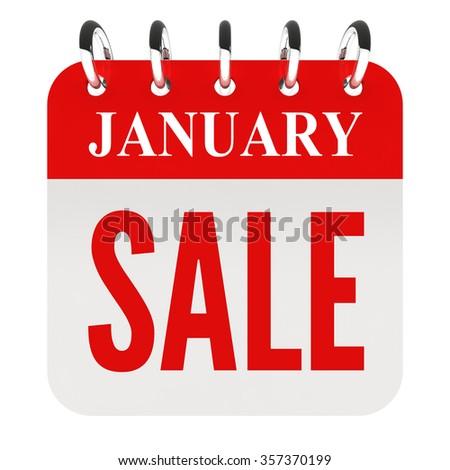 January Sale on calendar page - stock photo