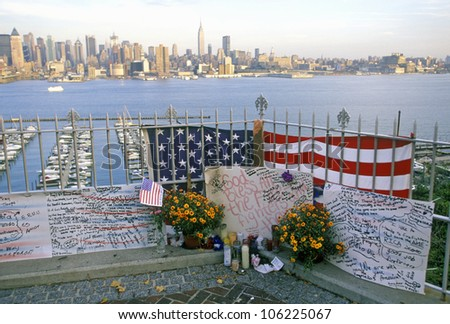 JANUARY 2005 - September 11, 2001 Memorial on rooftop looking over Weehawken, New Jersey, New York City, NY